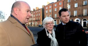 Austin Stack  with his mother Sheila and brother Oliver: called the tweet 'disgusting' and said Ms Devine should be expelled from Sinn Féin. Photograph: Cyril Byrne