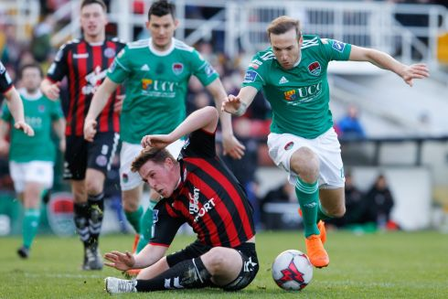 PREMIER DIVISION: Cork's Karl Sheppard in action against Dan Casey of Bohemians in the SSE Airtricity League Premier Division, at Turner's Cross, Cork. Photograph: Conor Wyse/Inpho