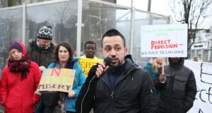 Joe Loughnane of Galway Anti-Racism Network speaking in Galway in January during a march and rally calling for an end to Ireland's Direct Provision system. Photograph: Joe O'Shaughnessy