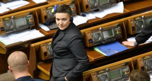Nadezhda Savchenko says accusations that she plotted to blow up Kiev's parliament and massacre its deputies are politically motivated. Photograph: Genya Savilov/AFP/Getty Images