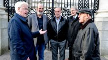 'Hooded Men' Francis Mc Guigan, Micheal Donnelly, Patrick Mc Nally, Brian Turley and Kevin Hannaway. Photograph: Cyril Byrne/The Irish Times