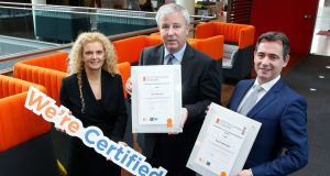 Caroline Geoghegan, managing director of CG Business Consulting; Paul Tuite,  PwC's chief operating officer; and Michael Brophy, CEO, Certification Europe.