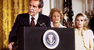 US president Richard Nixon's farewell speech to White House staff on  August 9th, 1974. Photograph: Reuters