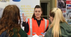 Hannah Shortt, ESB Apprentice Electrician at the Young Women in Apprenticeships event in DIT: 'I'm not treated any differently, there's equality across the board.' Photograph: Conor Mulhern