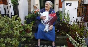 British novelist Doris Lessing  on the doorstep of her house in London in 2007. Lara Feigel explores Lessing's work and life for her novel. Photograph: Kieran Doherty/Reuters