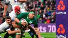 Ireland's number eight CJ Stander goes to ground the ball at the base of the post during Ireland's Six Nations win over England at Twickenham. Photo: Ben Stansall/Getty Images