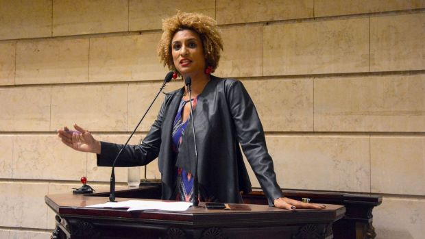 Marielle Franco leading a session at the municipal chamber in Rio de Janeiro last month. Photograph: Renan Olaz/AFP/Getty Images