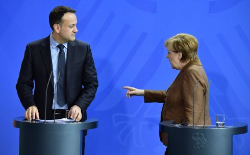 BONDING IN BERLIN: German chancellor Angela Merkel and Taoiseach Leo Varadkar after a news conference following talks held in Berlin. Photograph: Tobias Schwarz/AFP/Getty Images