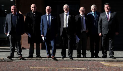 "HOODED MEN: The European Court of Human Rights has said new evidence provided by Ireland does not justify altering a 1978 judgment about inhuman treatment of hooded detainees in Northern Ireland. Pictured are seven of the 14  ""Hooded Men"", who were kept in hoods while interned in Northern Ireland in 1971. From left are Jim Auld, Patrick McNally, Liam Shannon, Fracncie McGuigan, Davy Rodgers, Brian Turley and Joe Clarke, following a press conference at KRW Law in  Belfast after the ruling. Photograph: Brian Lawless/PA Wire"