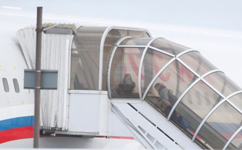 INTERNATIONAL SPAT: Diplomats from Russia's embassy in London and members of their families board a Russian aircraft at Stansted Airport, sent to collect them after their expulsion by Britain following the poisoning this month of former Russian intelligence officer Sergei Skripal and his daughter Yulia in Salisbury. Photograph: Chris Radburn/Reuters