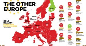 A map of Europe with homeless data for each state.