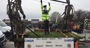 "The float in the Castleisland parade, by local builder Dan Lynch, portrayed Sgt Maurice McCabe hanging from a clothes line held up by two giant sized ""Special Branch Officers"" made out of sticks."