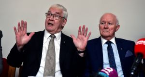 Francis McGuigan and Liam Shannon , two of the 'hooded men' give their reaction to the European Court of Human Rights' decision in their case at a press conference in Belfast. Photograph: Charles McQuillan/Getty Images