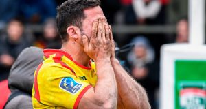 Spain's Fabien Perrin reacts to his team's controversial defeat to Belgium. Photograph: Getty Images