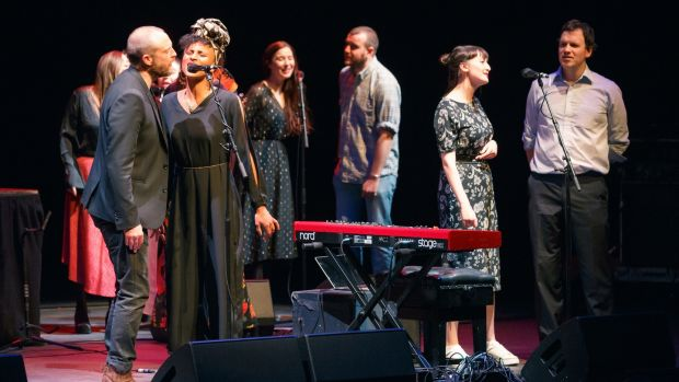 Brian Deady, Loah, Lisa Hannigan, Stephen James Smith, Maria Kelly, Seamus Fogarty at Imagining Ireland at the Barbican Centre. Photograph: Emile Holba