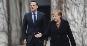 """'Ireland can count on us – and that isn't based on any other conditions,' German chancellor Angela Merkel said after meeting Taoiseach Leo Varadkar and it would be hard to devise a more unambiguous message of support."" Photograph: Sean Gallup/Getty Images"