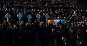 Mourners gather for Martin McGuinness's funeral on March 23rd, 2017. Photograph: Charles McQuillan/Getty Images