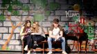 Rehearsing for 'North by Northside',  a play based on the writings of  Milo Smith, who was a student at Castleknock College, are Jessica Storey, Leah Kavanagh and Sean Peace