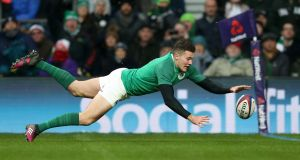 Jacob Stockdale: the Ireland winger's  seven tries proved a Six Nations record.  Photograph: Paul Harding/PA