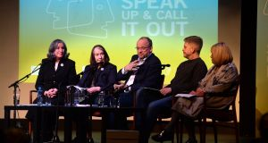 Catriona Crowe, Eleanor Methven, Peter Crowley,  Philip McMahon and Sheila Pratschke at the Speak Up & Call it Out event at   Dublin's Liberty Hall. Photograph: Dara Mac Dónaill
