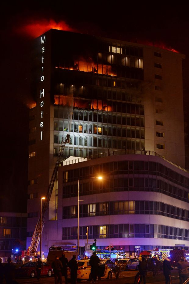 The fire brigade responds to the blaze at the Metro Hotel in Ballymun. Photograph: Alan Betson/The Irish Times