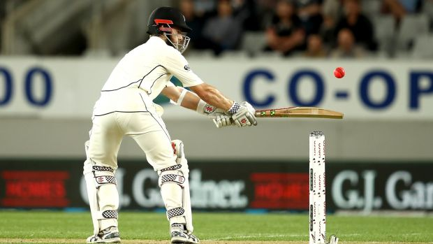 Kane Williamson helped put New Zealand in a commanding position after day one of the first Test against England. Photograph: Phil Walter/Getty