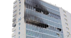 The scene at the Metro Hotel, Ballymun, after Wednesday night's fire. Photograph: Colin Keegan/Collins.