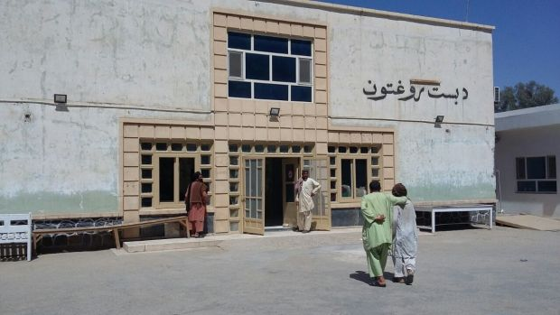 The entrance to Boost hospital in Lashkar Gah, Helmand Province, Afghanistan