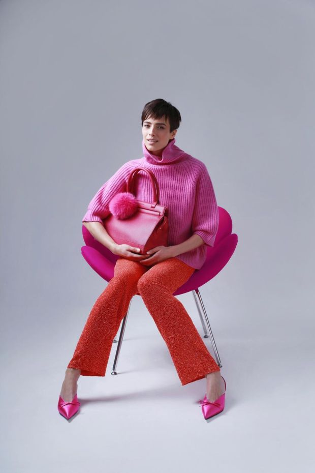 Fuschia knit €595, coral embellished trousers €2995 and the Kennedy 26 (bag) in fuschia €1395. All from Louise Kennedy