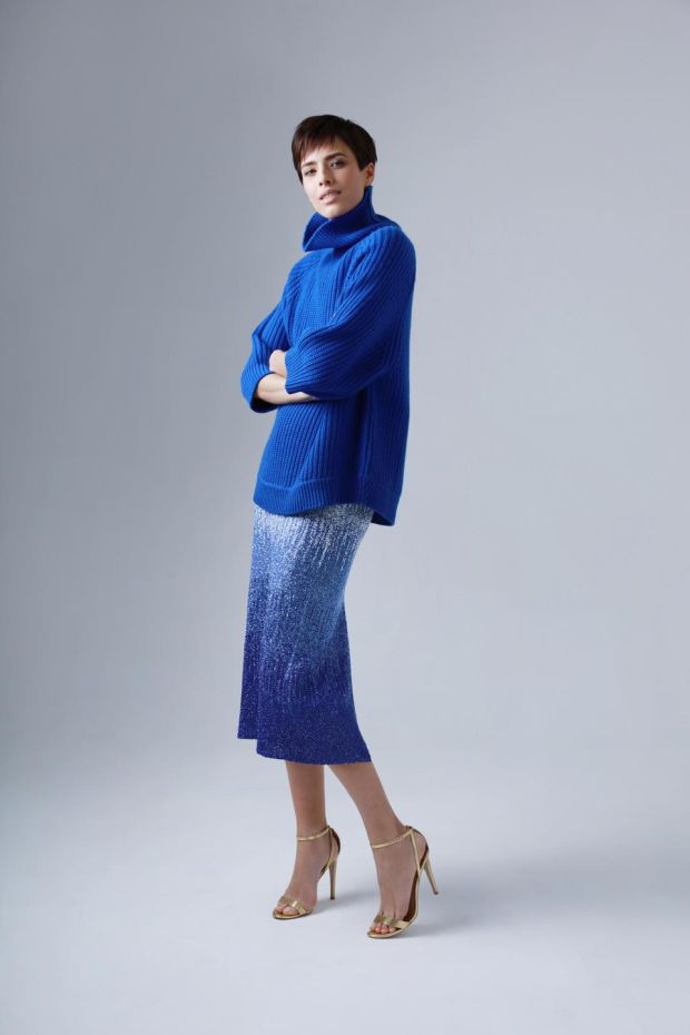 Lily sapphire knit €595 and Chloe sapphire embellished skirt POA, both from Louise Kennedy