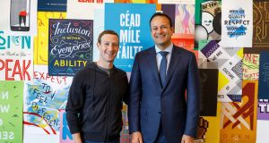Facebook founder Mark Zuckerberg with Taoiseach Leo Varadkar at the company's headquarters in Menlo Park, Silicon Valley, California. Facebook has confirmed it plans to create hundreds of new jobs in Ireland next year. Photograph: Suzanne Lynch