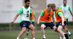 Cyrus Christie trains with the squad in Antalya, Turkey. Photograph: Ryan Byrne/Inpho