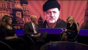 For a backdrop, 'Newsnight' superimposed Corbyn on to an image of the Kremlin washed by a sinister red sunrise.