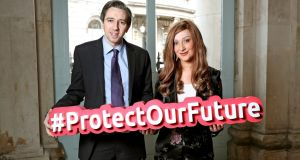 Minister for Health Simon Harris with Laura Brennan from Co Clare, who has terminal cervical cancer, at the launch of the latest phase of the HSE's HPV Vaccine Information Campaign. Photograph: Marc O'Sullivan