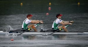 Ireland's Gary O'Donovan and Paul O'Donovan. They compete in an  A Final  at the Sydney International Regatta. Photograph: Srdjan Stevanovic/Inpho
