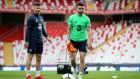 Aston Villa's Scott Hogan and Preston North End's Seán Maguire during Ireland training at Antalya Stadium in Turkey.  Photograph:  Ryan Byrne/Inpho