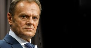 European Council president Donald Tusk listens during a news conference following a summit of EU leaders in Brussels. Photograph: Bloomberg