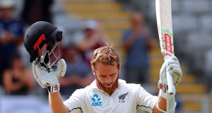 Kane Williamson after reaching his century in Auckland. Photograph: David Gray/Reuters