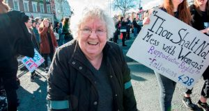 Author and feminist Nell McCafferty at the Strike Repeal March on O'Connell Bridge on March 8th, 2017. Photograph: Brenda Fitzsimons
