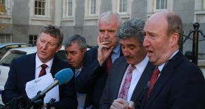 "Independent Alliance members Seán Canney, Kevin ""Boxer"" Moran , Finian McGrath, John Halligan and Shane Ross. Photograph Nick Bradshaw"