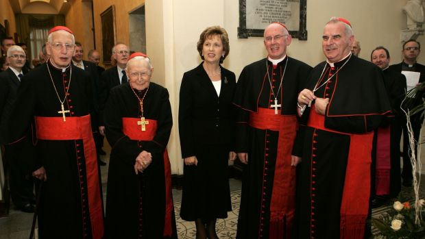 Then president of Ireland Mary McAleese with, from left, Cardinal Desmond Connell (now deceased); Cardinal Cahal Daly (now deceased); Cardinal Seán Brady, and Cardinal Keith O'Brien (recently deceased), pictured in the Vatican in 2007. File photograph: Dara Mac Dónaill/The Irish Times