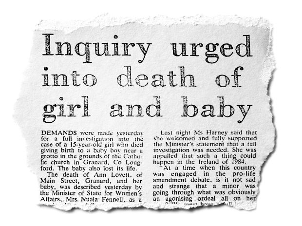 The Irish Times front pages story about Ann Lovett's death on Monday, February 6th, 1984