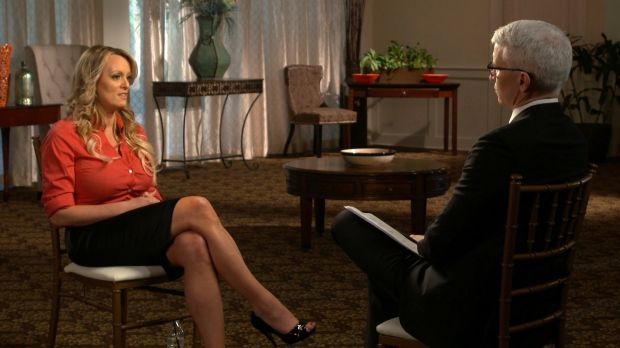 Trump sex allegations: Stormy Daniels talking to Anderson Cooper in the CBS interview to air on Sunday, March 25th. Photograph: CBS News via AP
