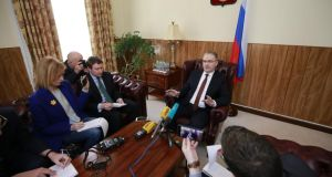 Russian ambassador Yury Filatov with  the media in the Russian embassy on Friday  afternoon. Photograph: Nick Bradshaw