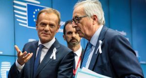EU summit: Donald Tusk, president of the European Council, with Jean-Claude Juncker, head of the European Commission.  Photograph: Jack Taylor/Getty