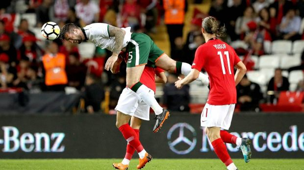 Republic of Ireland defender Shane Duffy gets above Turkey's Cenk Tosun to head the ball during the friendly international at the Antalya Stadyumu. Photograph: Ryan Byrne/Inpho