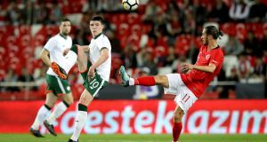 Declan Rice  in action against Turkey's Yusuf Yazici  during the friendly international  at the  Antalya Stadyumu. Photograph: Ryan Byrne/Inpho