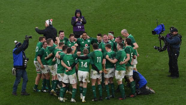 Man of the match Tadhg Furlong in the middle of the Ireland huddle at Twickenham. Photograph: Shaun Botterill/Getty Images