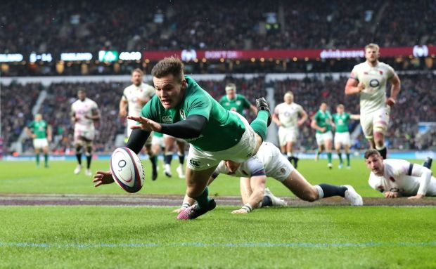 Jacob Stockdale scores Ireland's third try at Twickenham. Photograph: Gareth Fuller/PA Wire.