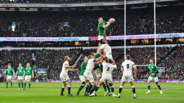 Ireland's Peter O'Mahony claims a lineout. Photograph: Ashley Western/MB Media via Getty Images